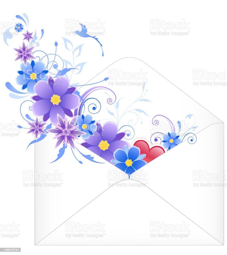 envelope with blue flowers vector art illustration
