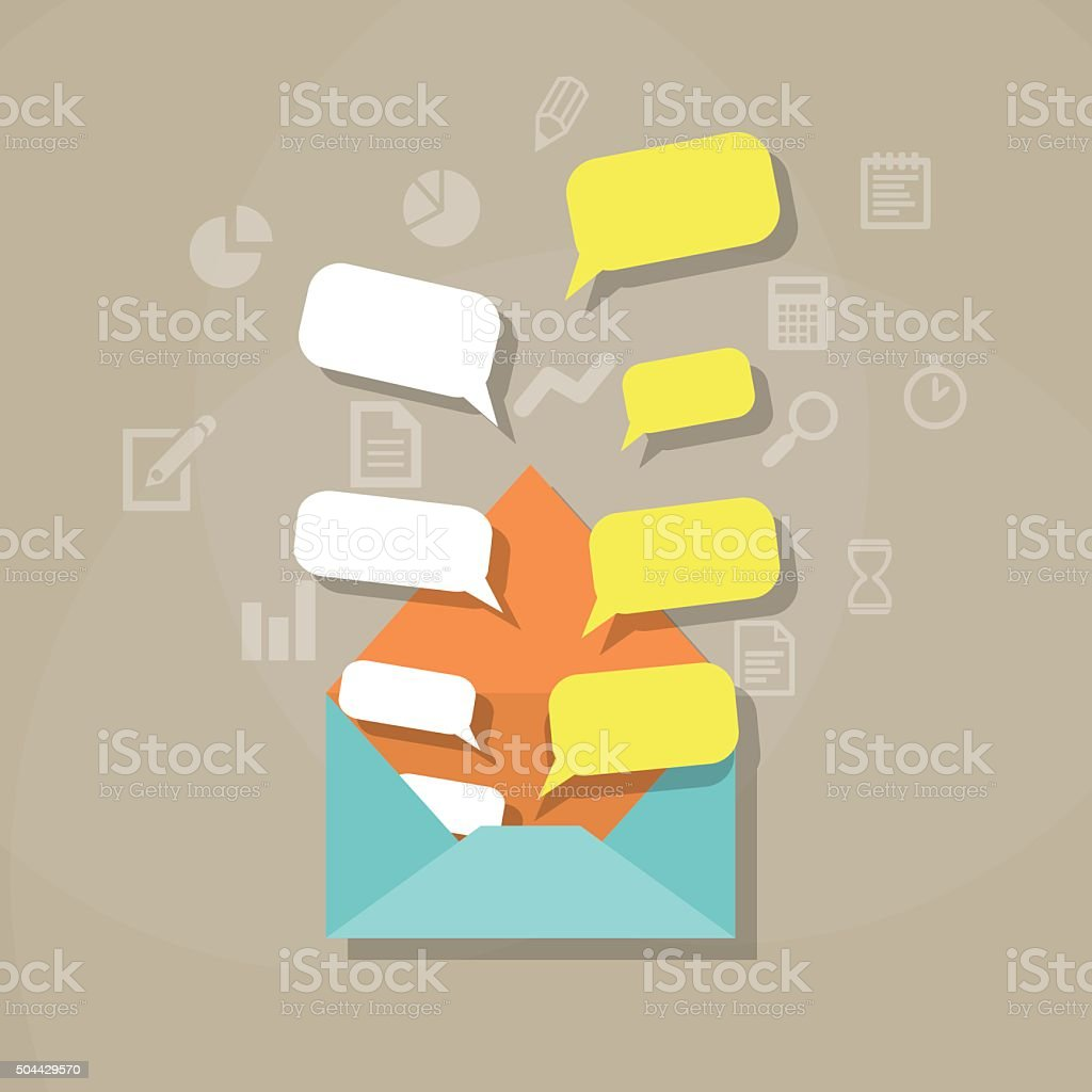 Envelope with bubble quote vector art illustration