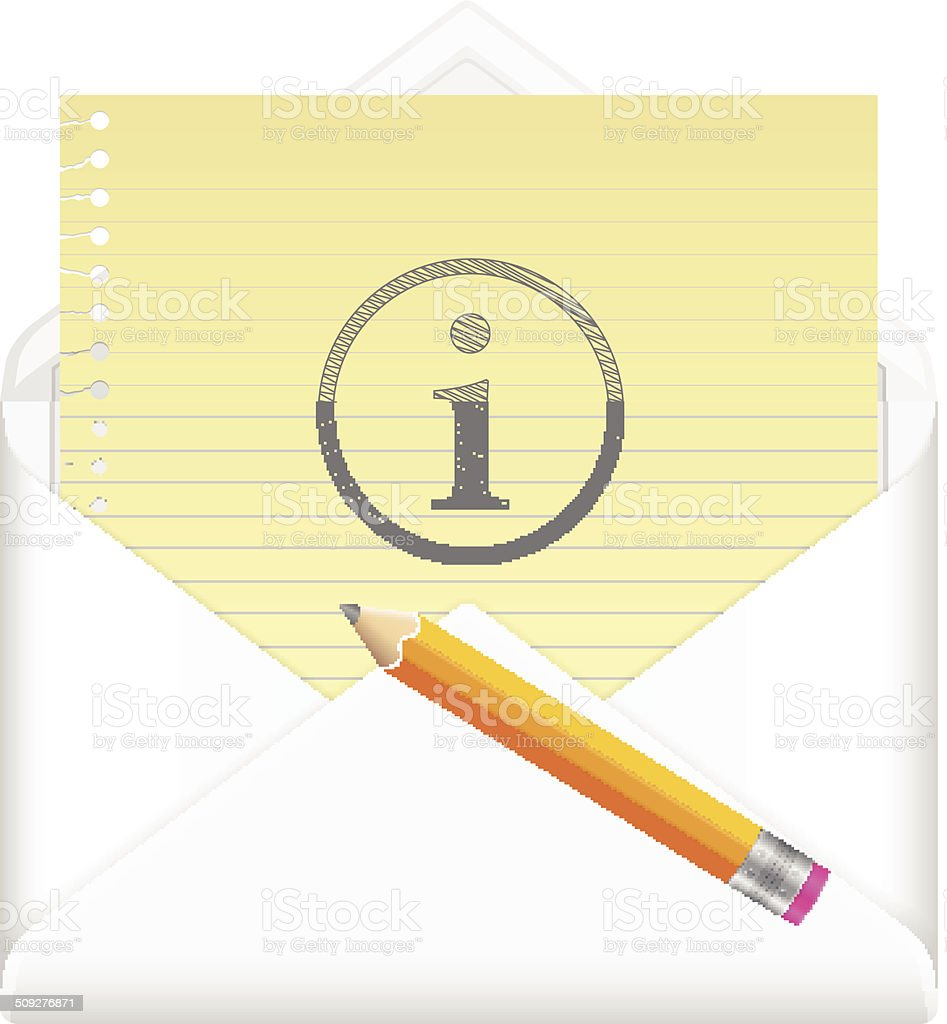 envelope with drawing info symbol vector art illustration