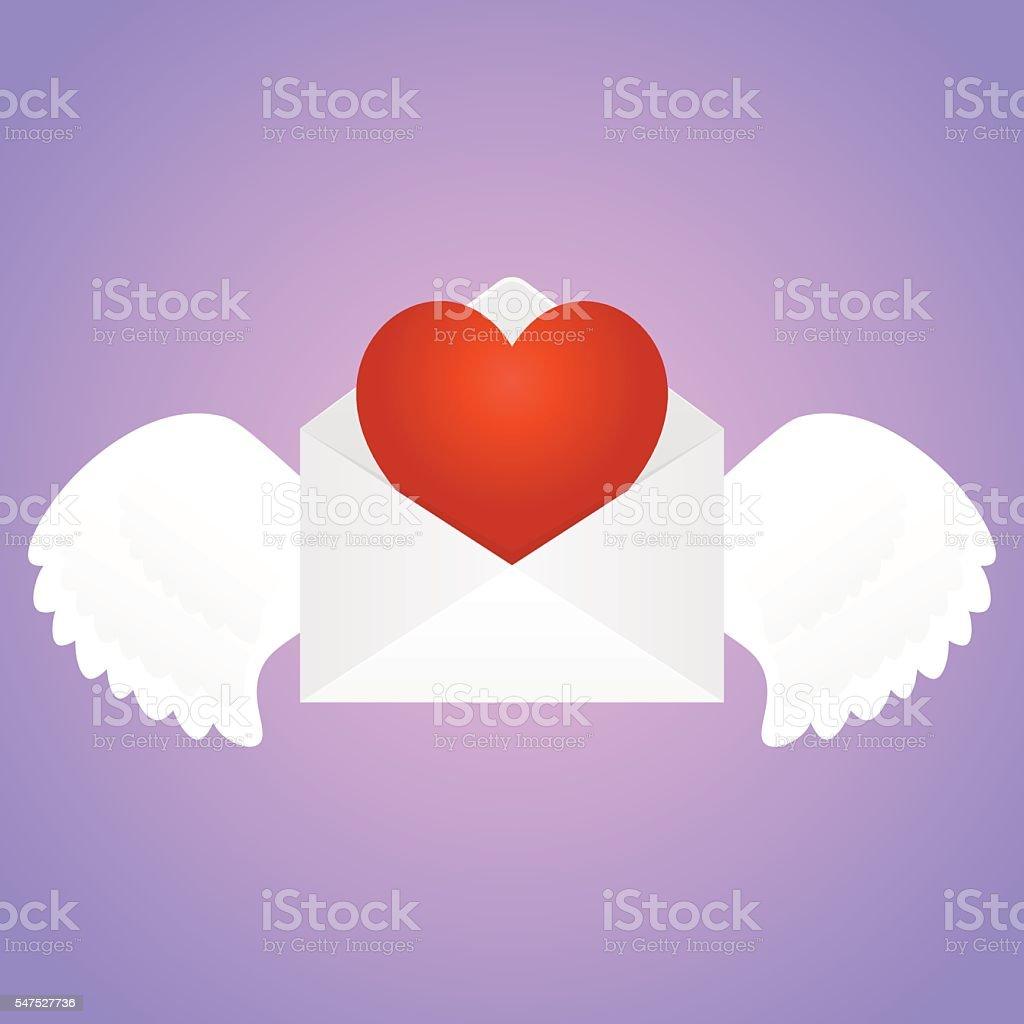 Envelope with heart vector art illustration