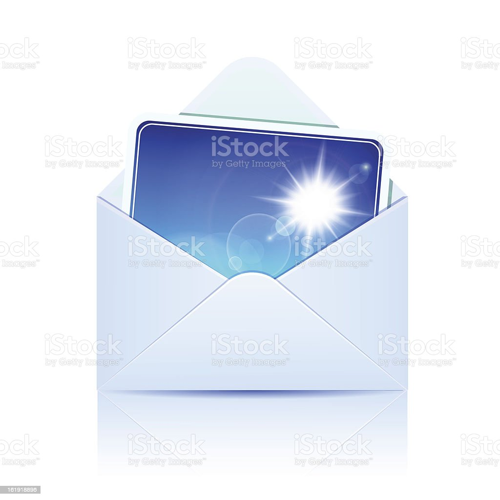 Envelope with photo. Concept of email royalty-free stock vector art