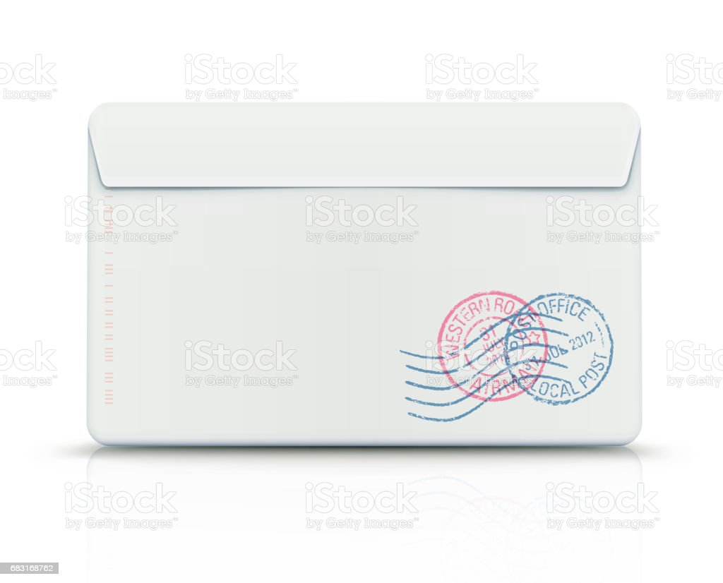 Envelope with post stamps vector art illustration