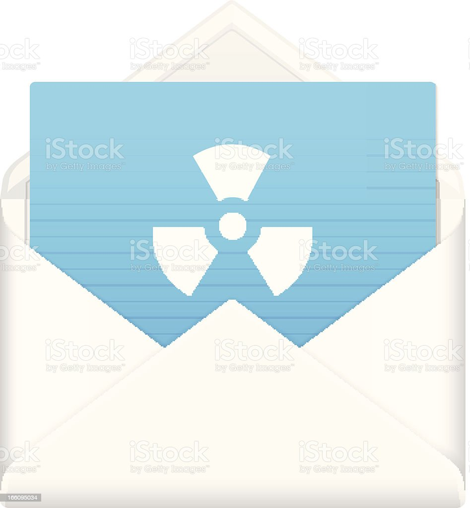 envelope with radiation symbol royalty-free stock vector art