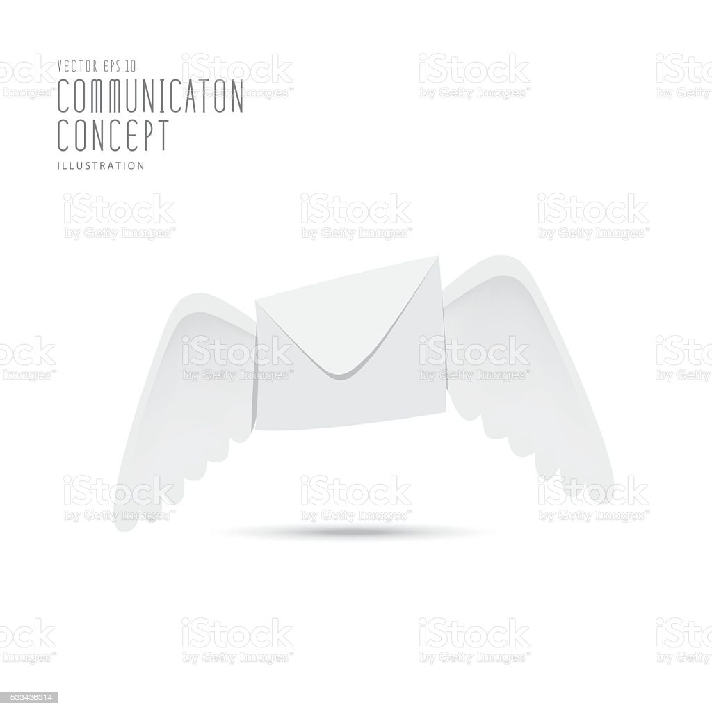 Envelope with wings indicative of the fast vector. vector art illustration