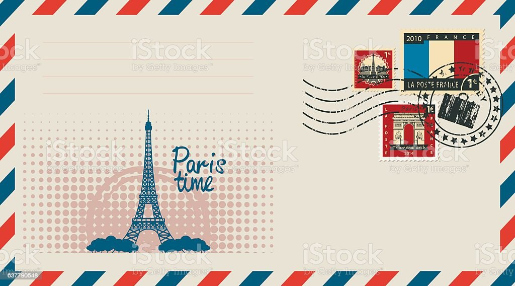 envelope with with Eiffel tower vector art illustration
