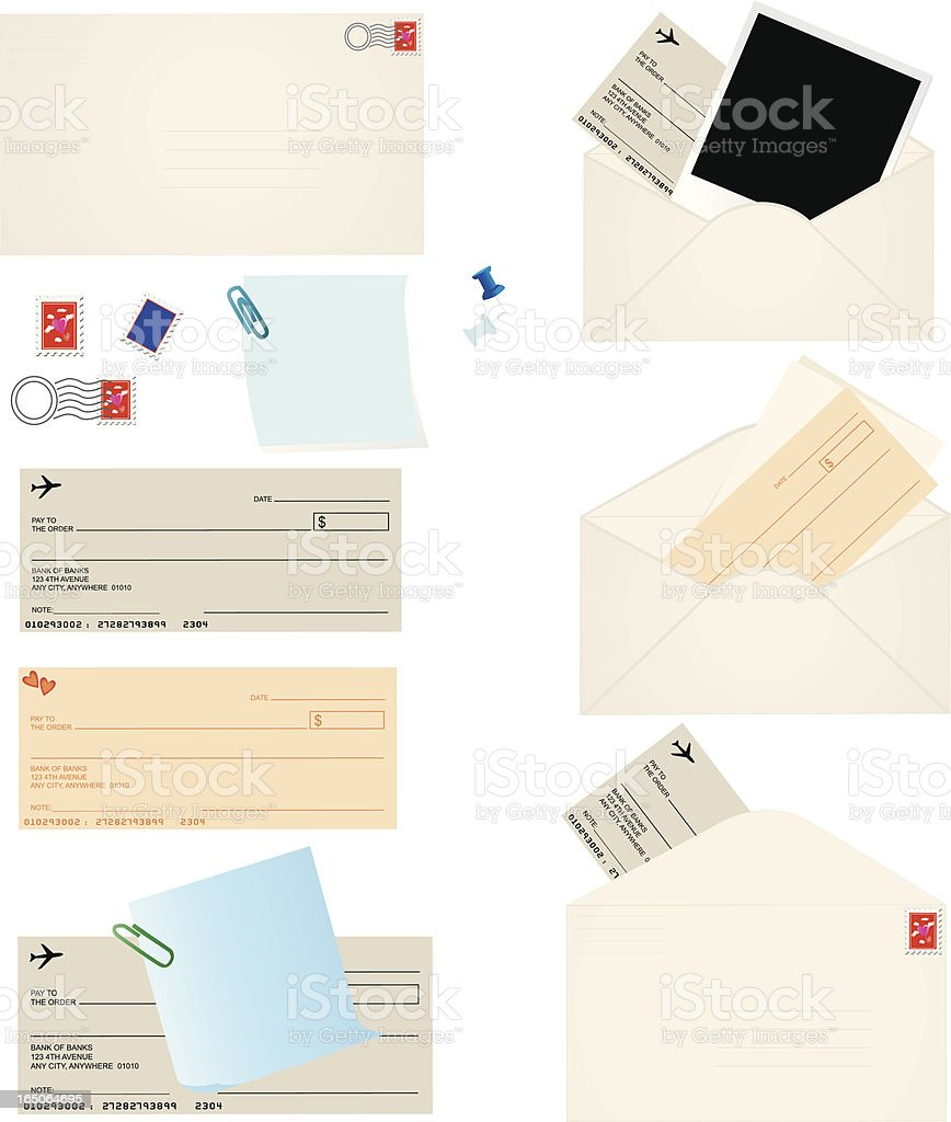 Envelopes, Checks and Postage royalty-free stock vector art