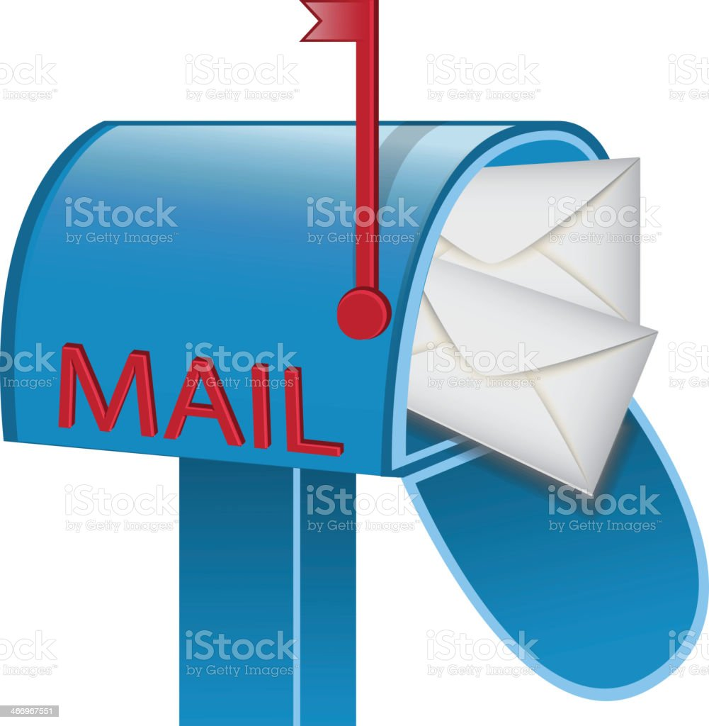 envelopes in the mailbox royalty-free stock vector art
