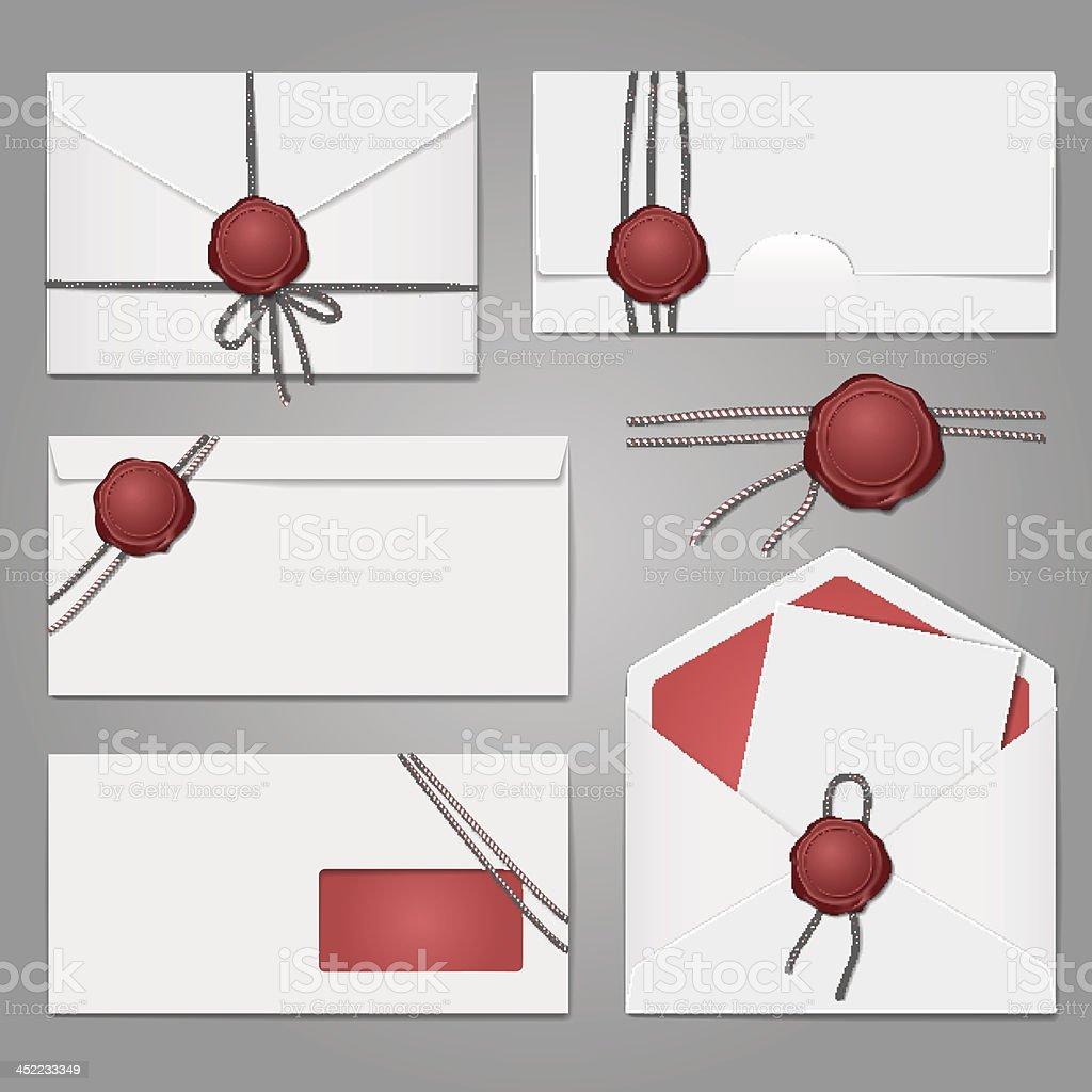 envelopes com o selo de cera conjunto vetor e ilustração royalty-free royalty-free