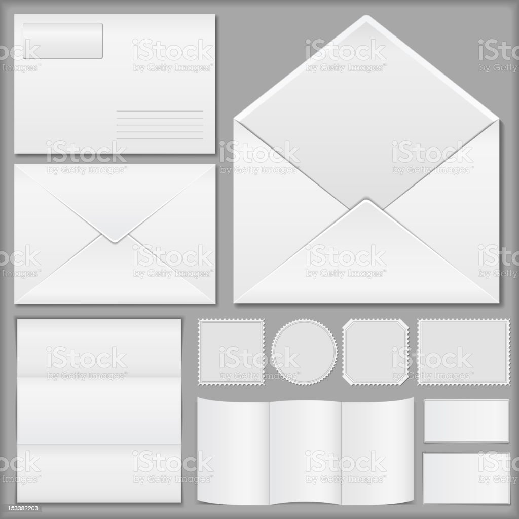 Envelopes with paper and postage stamps royalty-free stock photo