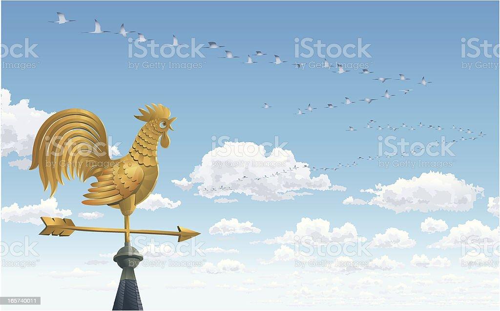 Envious Weathercock and Cranes vector art illustration