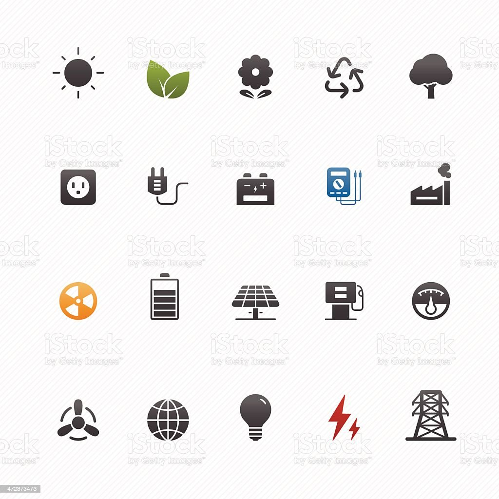 environment and power vector symbol icon set vector art illustration