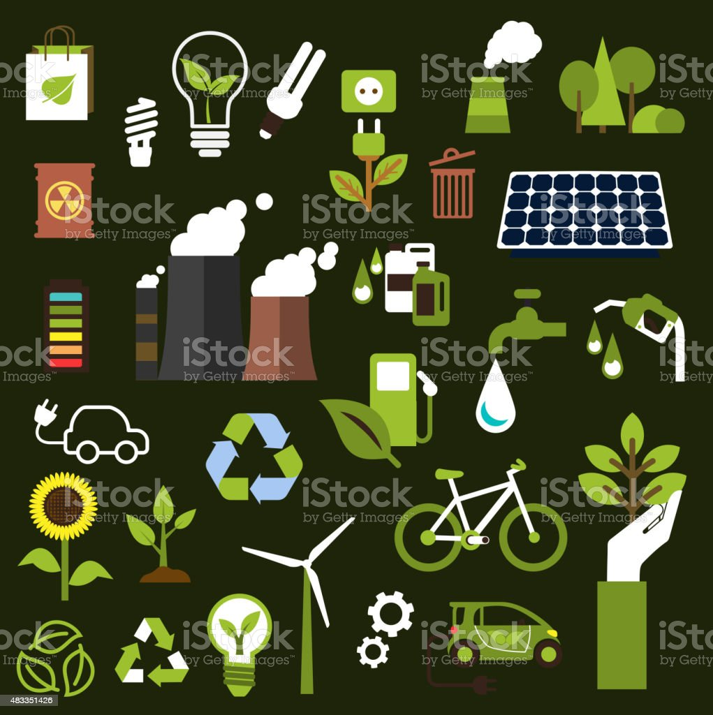 Environment and recycling flat icons vector art illustration