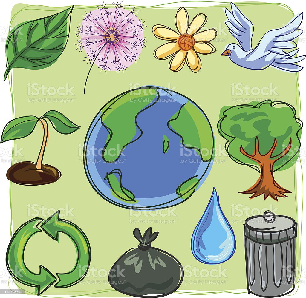 Environment collection in colour royalty-free stock vector art