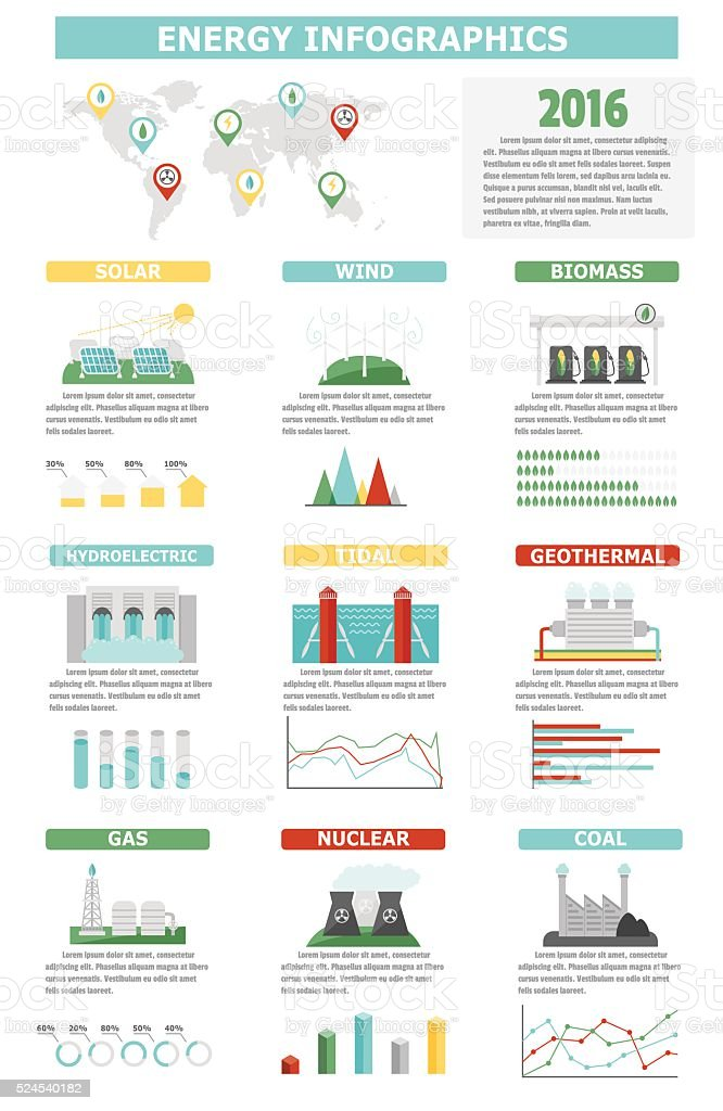 Environment ecology elements energy infographic vector illustration vector art illustration