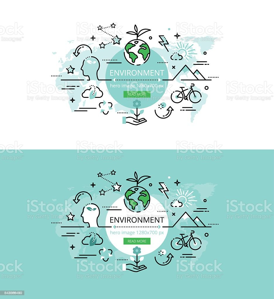 Environment. Flat line color hero images and hero banners design concept vector art illustration
