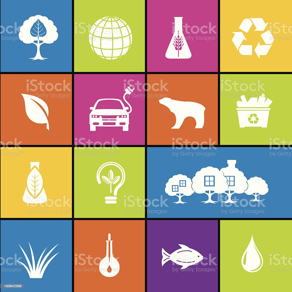 Environment Icon Set In Bold Colors royalty-free stock vector art