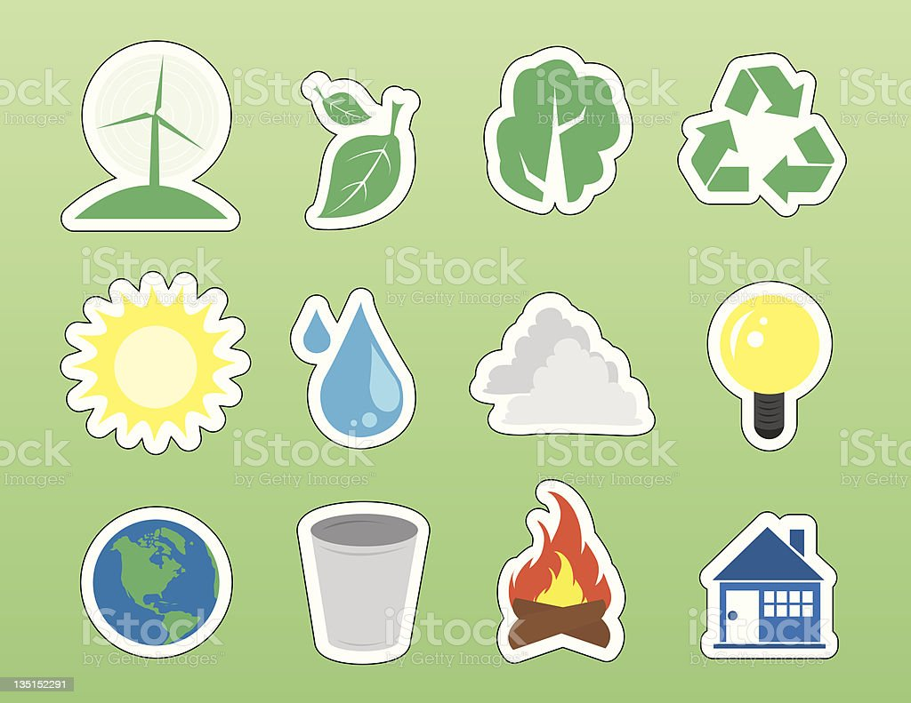 Environment Icon Stickers royalty-free stock vector art