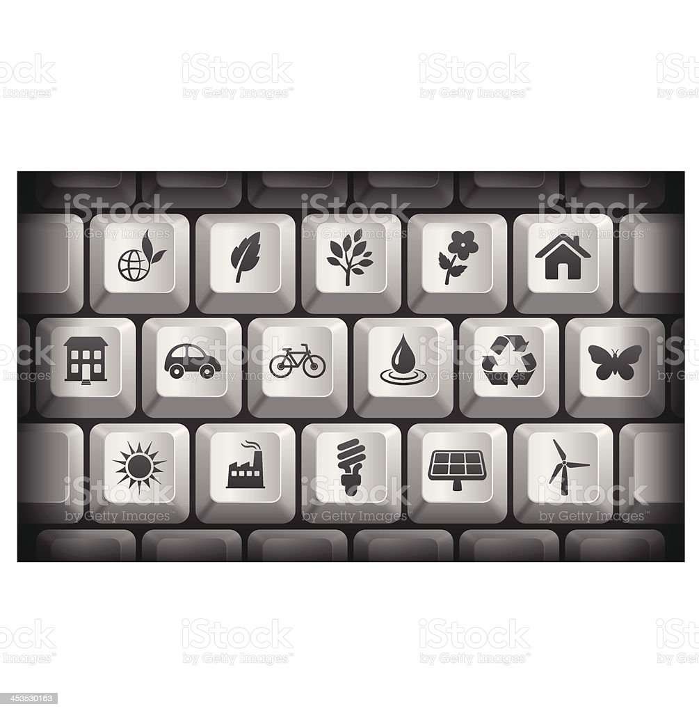 Environment Icons on Gray Computer Keyboard Buttons royalty-free stock vector art