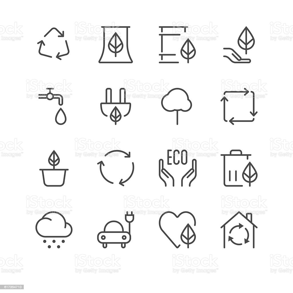 Environment Icons set 1 | Black Line series vector art illustration