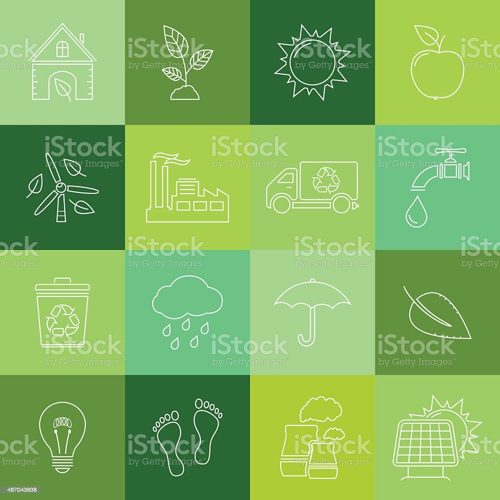 Environment icons, thin line style vector art illustration