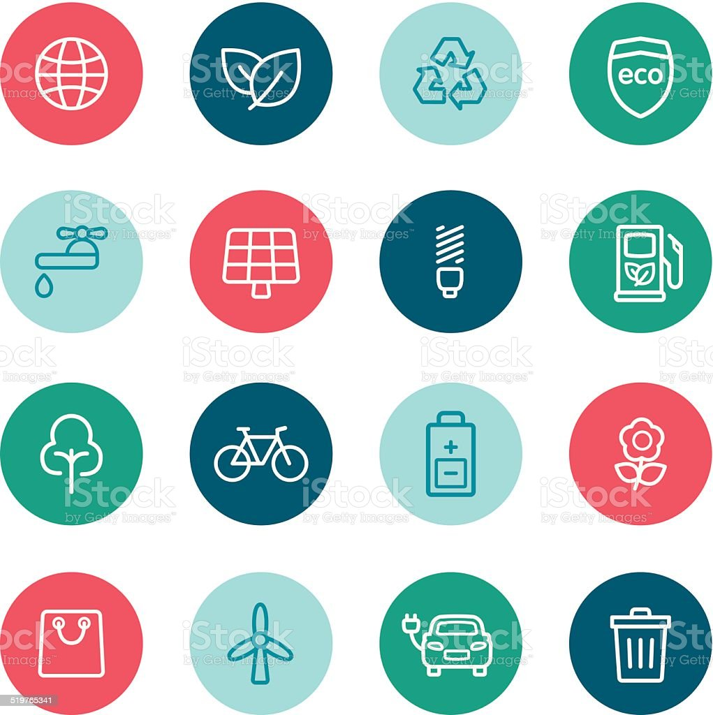 Environment Icons vector art illustration