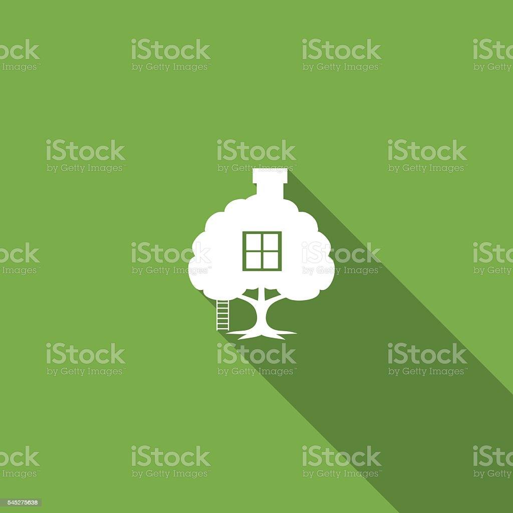 Environment Nature Flat Color Icon - Long Shadow vector art illustration