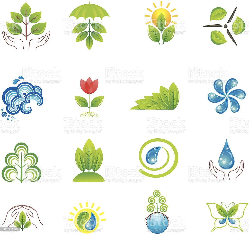 Environment. Set of design elements and icons. royalty-free stock vector art