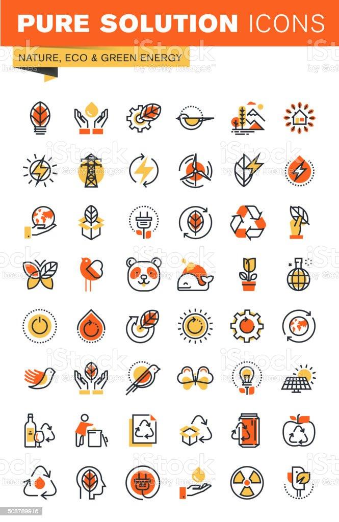 Medio ambiente de línea fina colección de iconos plana diseño de Web illustracion libre de derechos libre de derechos