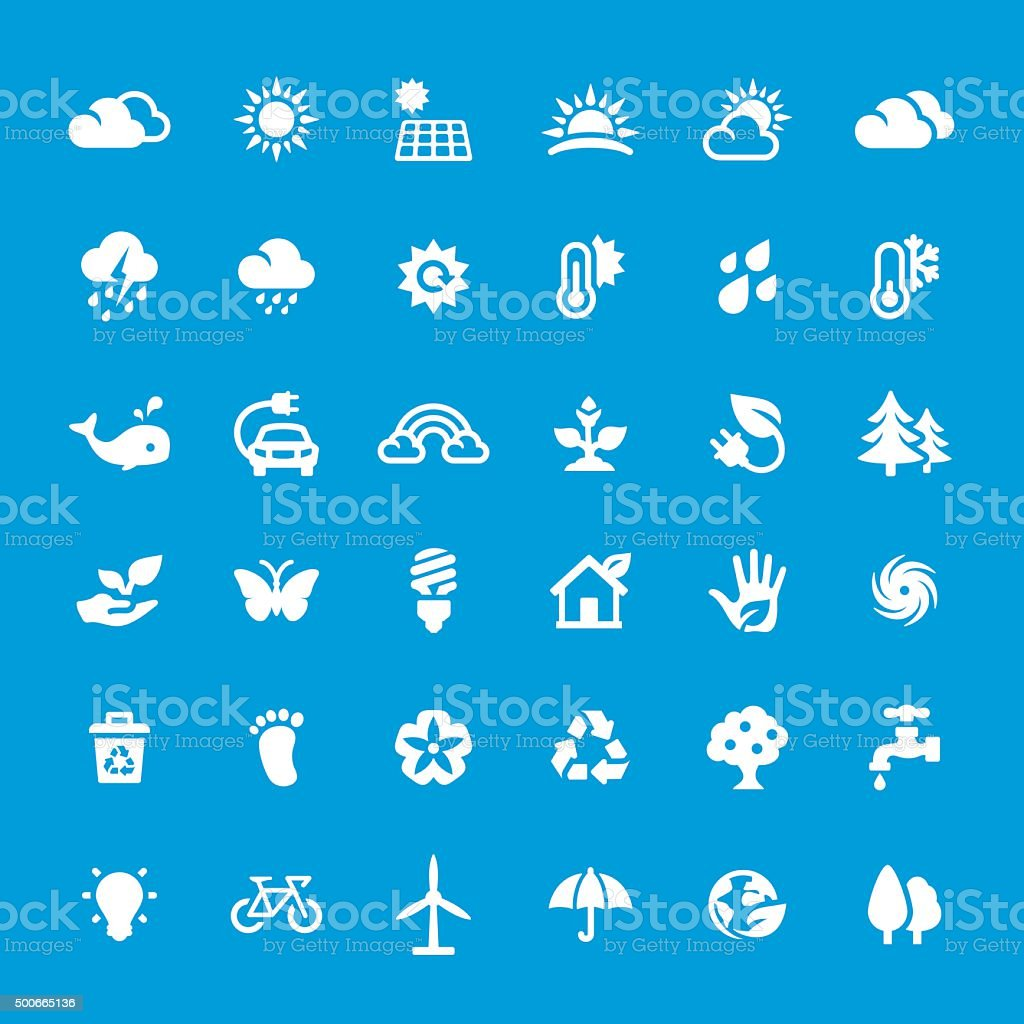 Environment vector icons set vector art illustration