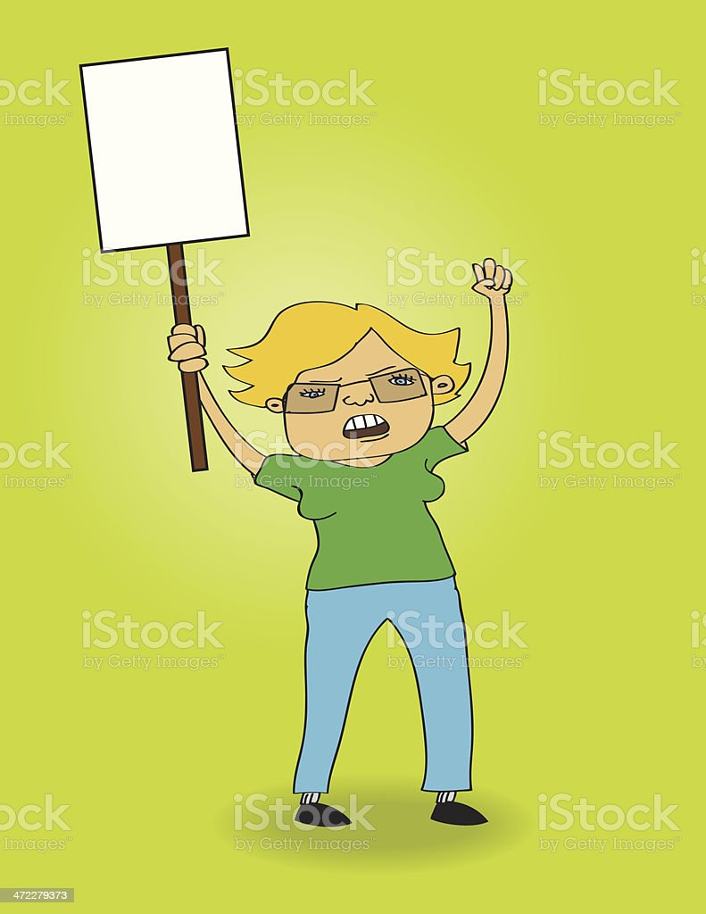 Environmental Activist Holding a Sign in Protest royalty-free stock vector art