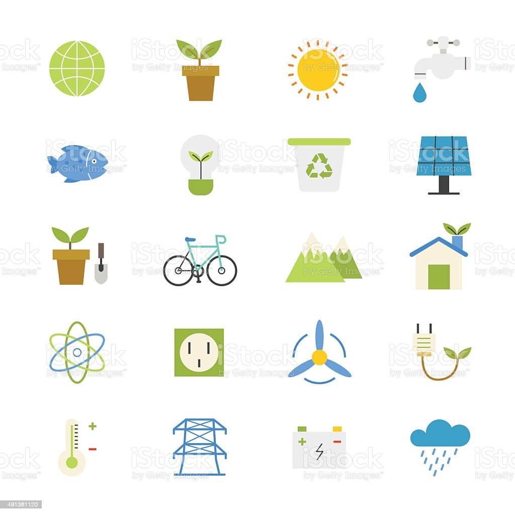 Environmental and Green Energy Flat Icons color vector art illustration