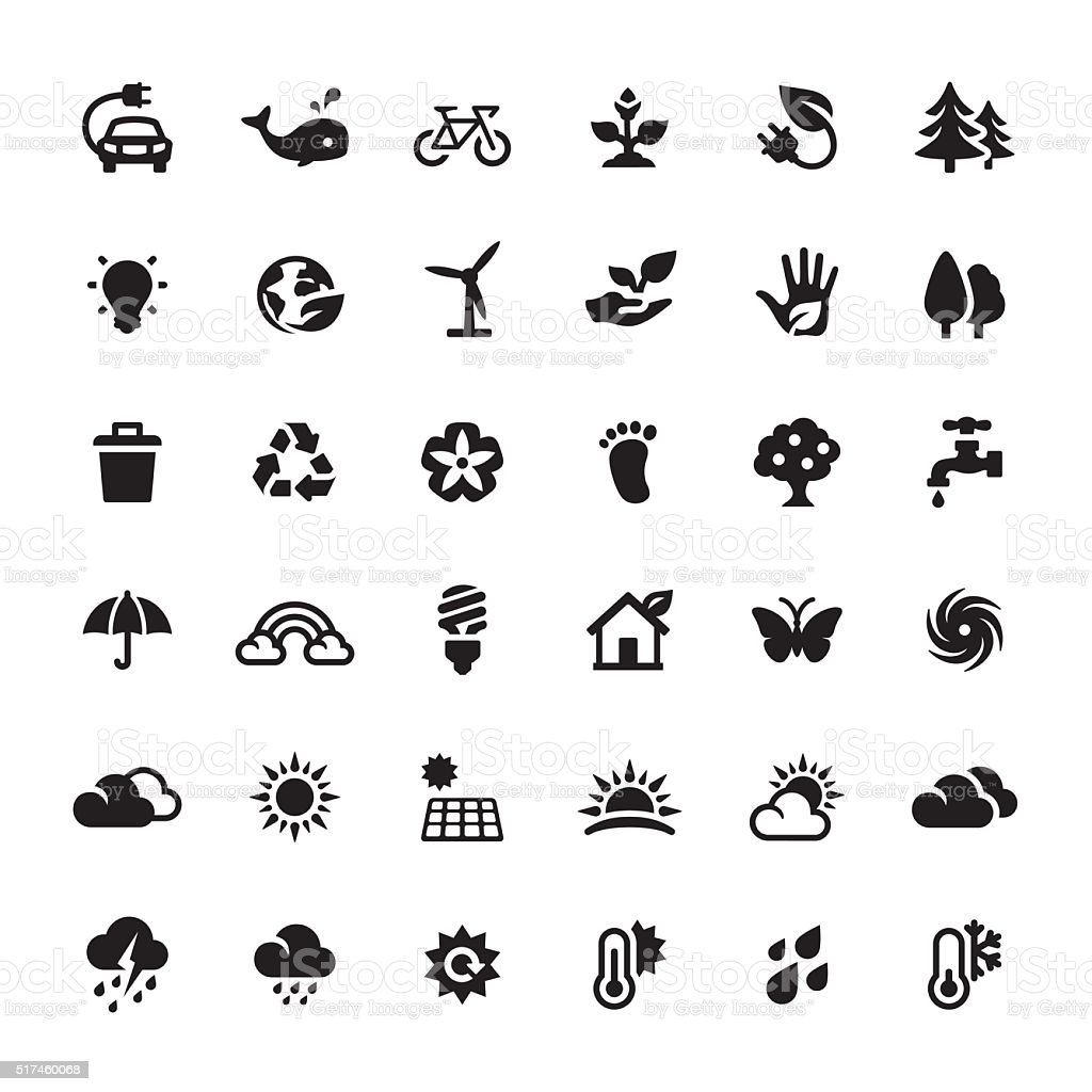 Environmental Conservation and Alternative Energy vector symbols and icons vector art illustration