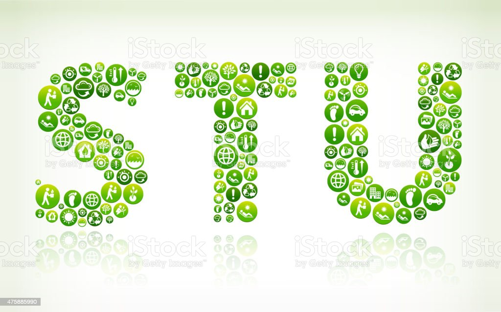 STU Environmental Conservation Green Vector Button Pattern. vector art illustration