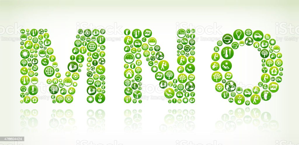 MNO Environmental Conservation Green Vector Button Pattern. vector art illustration