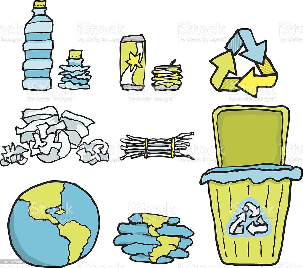 Environmental conservation / Recycling set vector art illustration