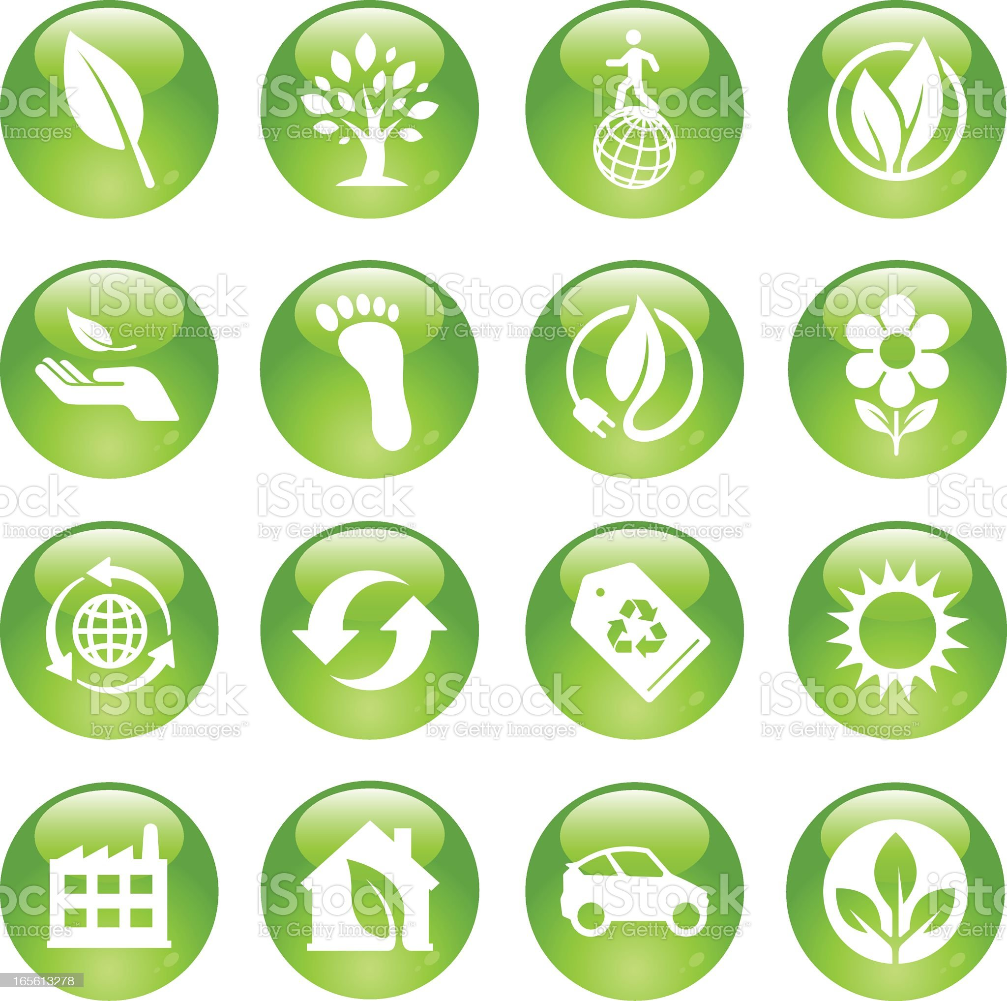 Environmental icons in green and white royalty-free stock vector art