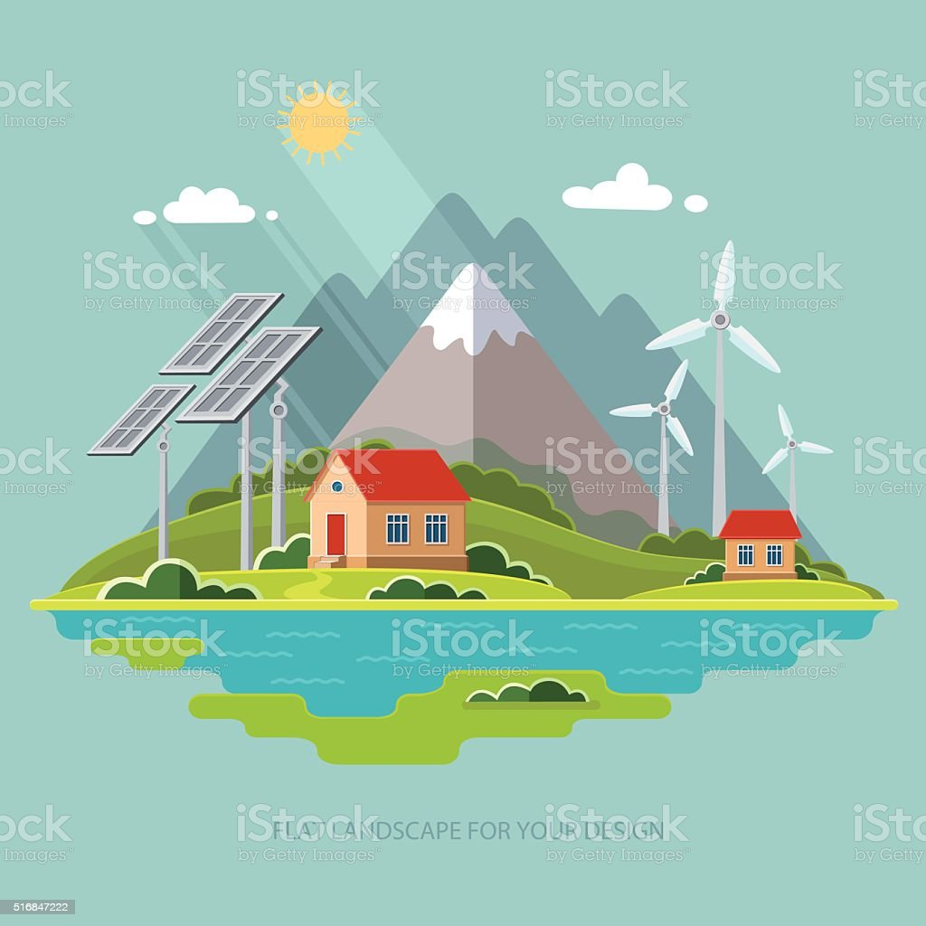 Environmental landscape cottages mountains. Solar and wind energy. Environmental protection vector art illustration