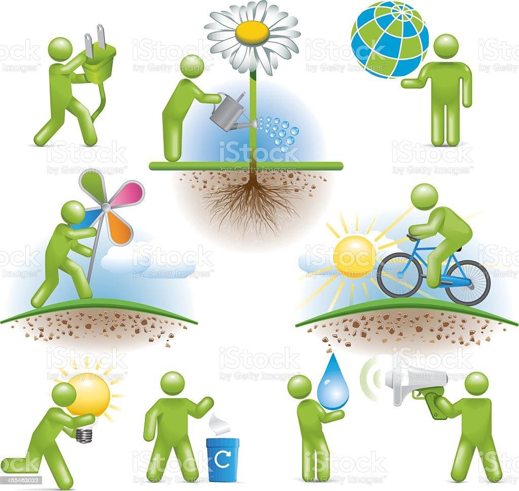 Environmental Men vector art illustration