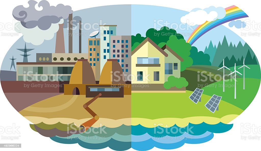 Environmental pollution and environment protection vector art illustration