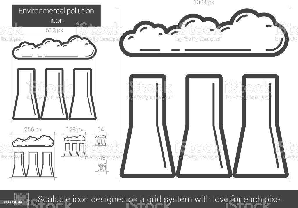 Environmental pollution line icon vector art illustration