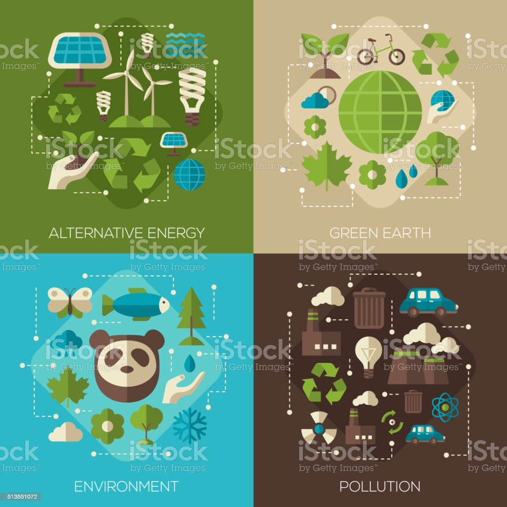 Environmental Protection, Ecology Concept Banners vector art illustration