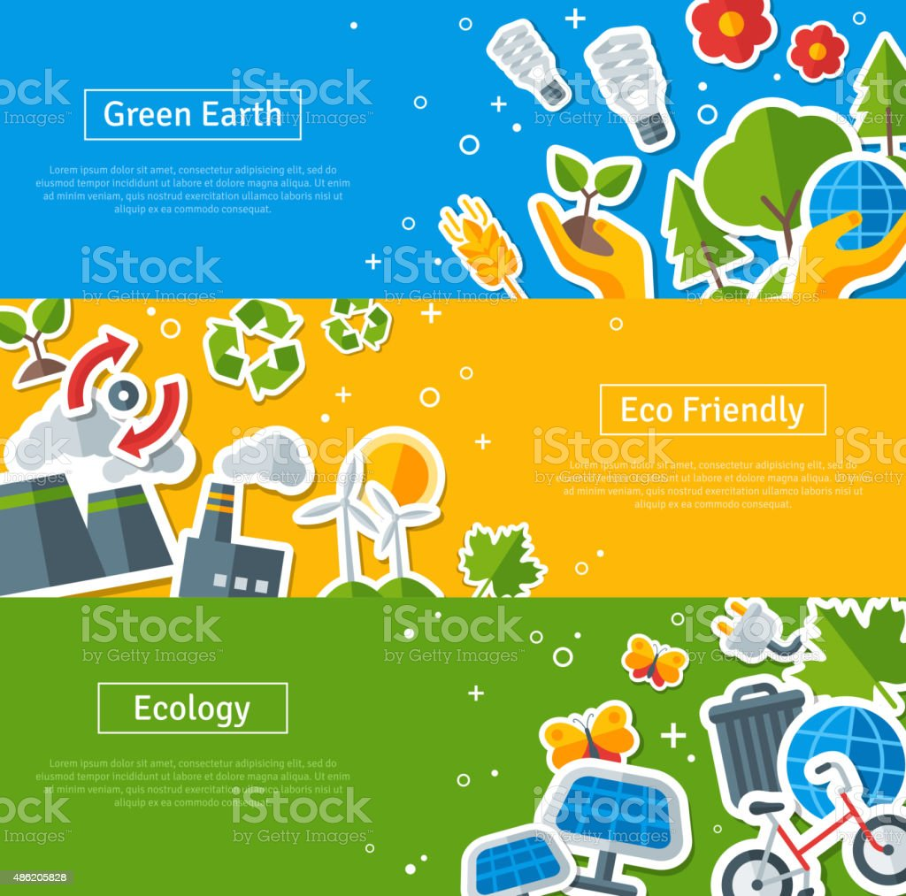 Environmental Protection, Ecology Concept Horizontal Banners Set vector art illustration