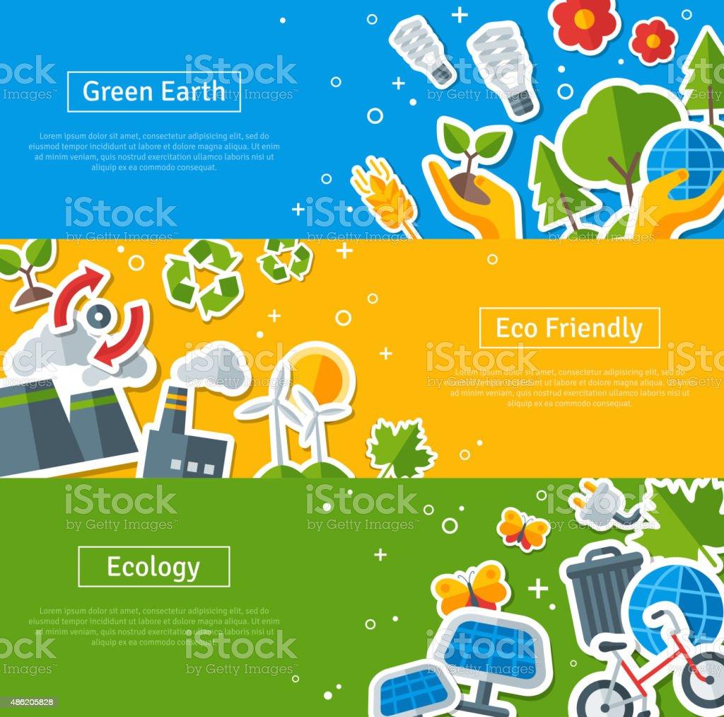 Environmental Protection, Ecology Concept Horizontal Banners Set vector art illustration