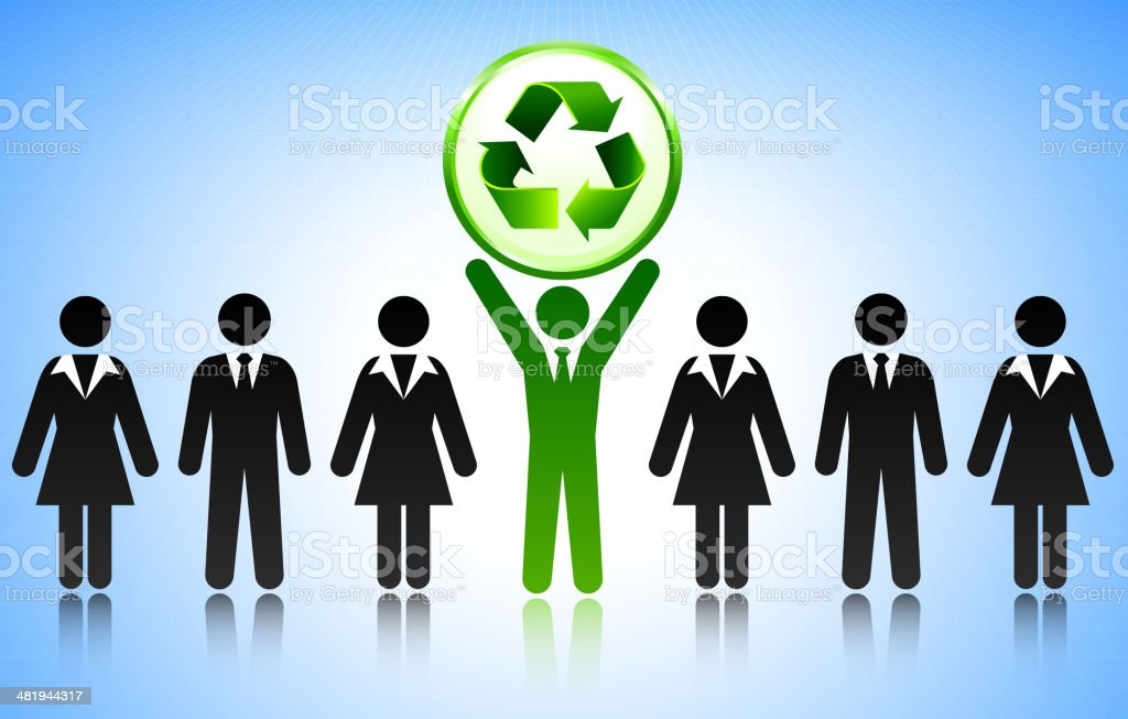 Environmental Recycle Symbol with Business Concept Stick Figures vector art illustration