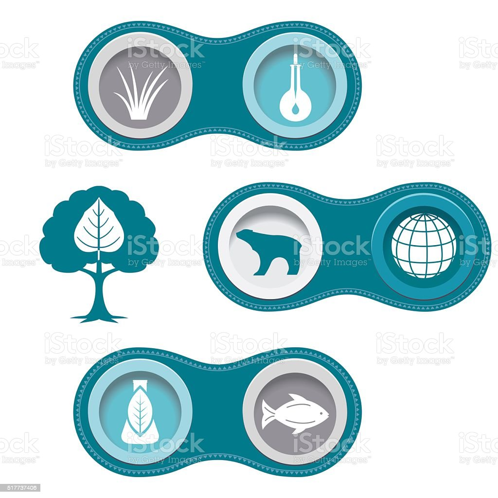 Environmental Research  Infographic Borders With Icon Set vector art illustration