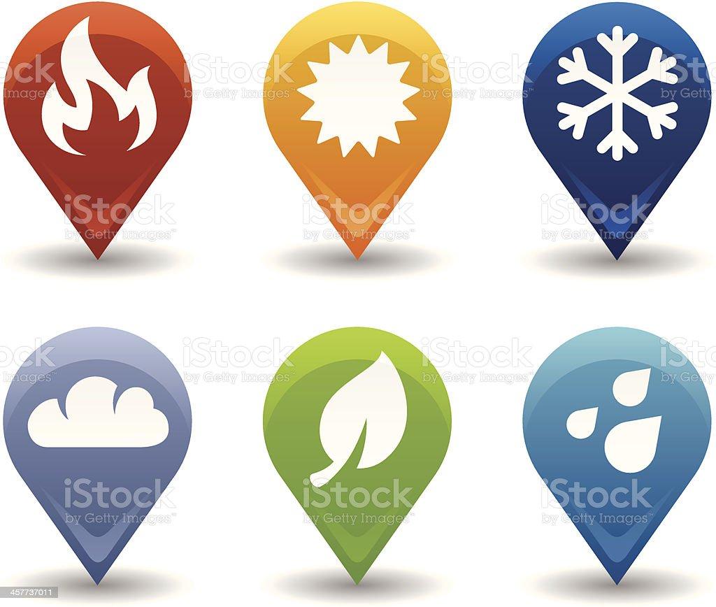 Environmental Symbol Markers vector art illustration