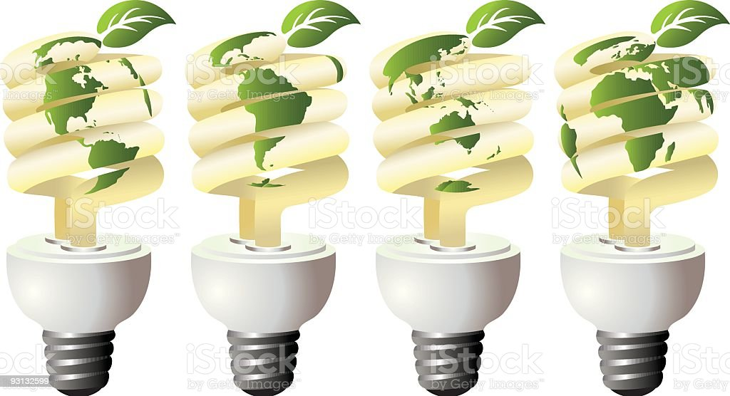 Environmentally Energy Efficient Light Bulbs Illustration royalty-free stock vector art