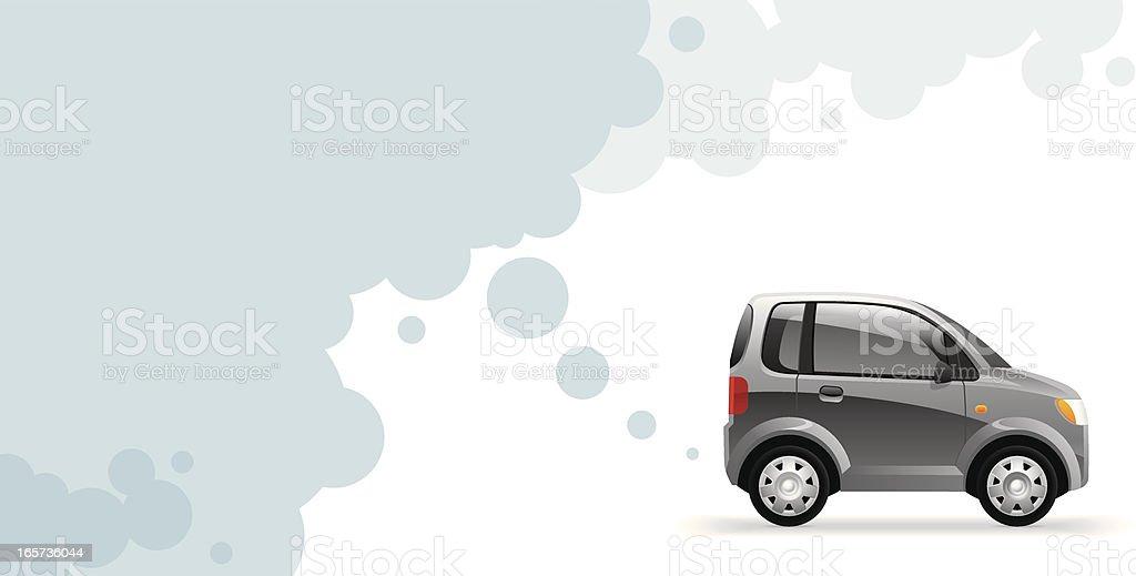 Environmentally friendly car exhausting water vapor vector art illustration