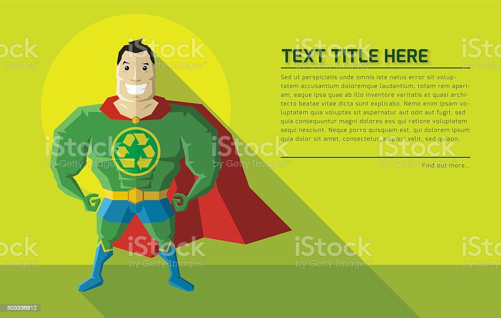 Environmentally Friendly Superhero vector art illustration