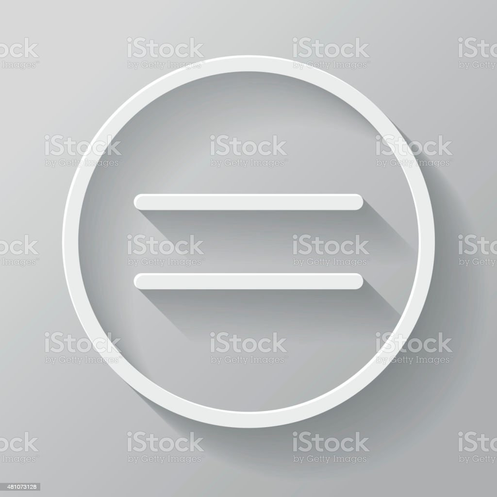 Equal Paper Thin Line Interface Icon With Long Shadow vector art illustration